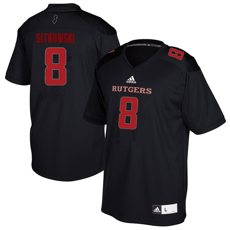 Men #8 Artur Sitkowski Rutgers Scarlet Knights College Football Jerseys Sale-Black