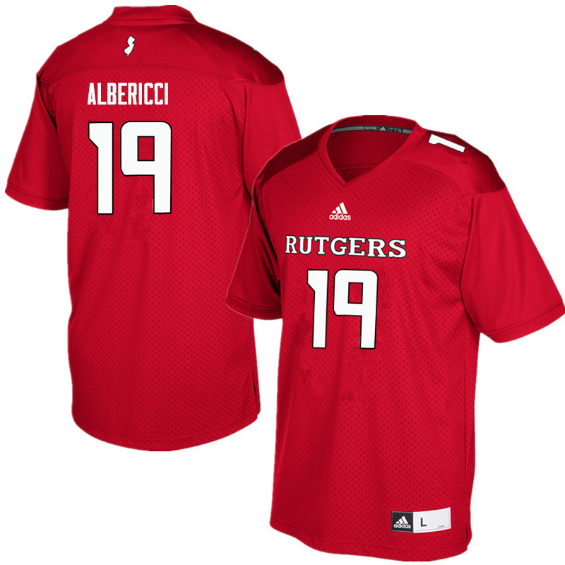 Men #19 Austin Albericci Rutgers Scarlet Knights College Football Jerseys Sale-Red