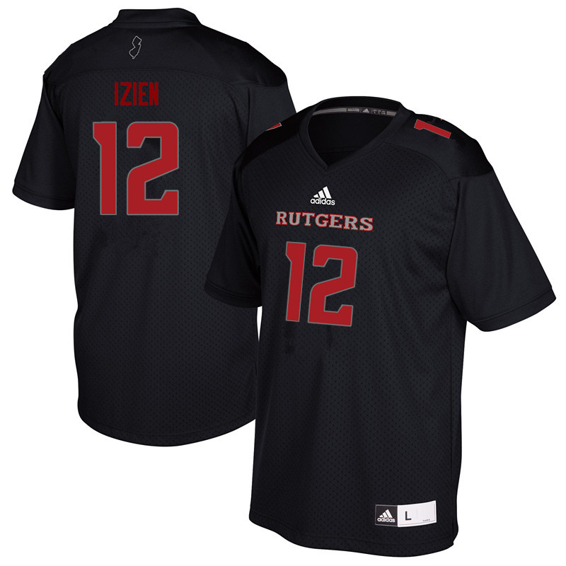 Men #12 Christian Izien Rutgers Scarlet Knights College Football Jerseys Sale-Black