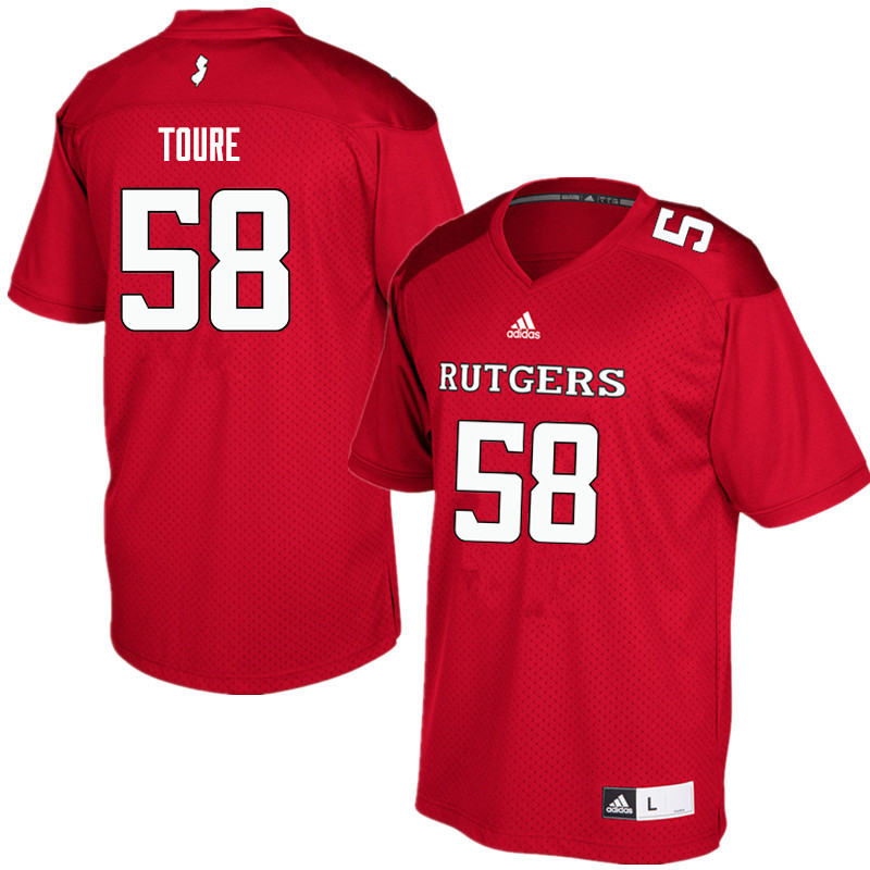 Men #58 Mohamed Toure Rutgers Scarlet Knights College Football Jerseys Sale-Red
