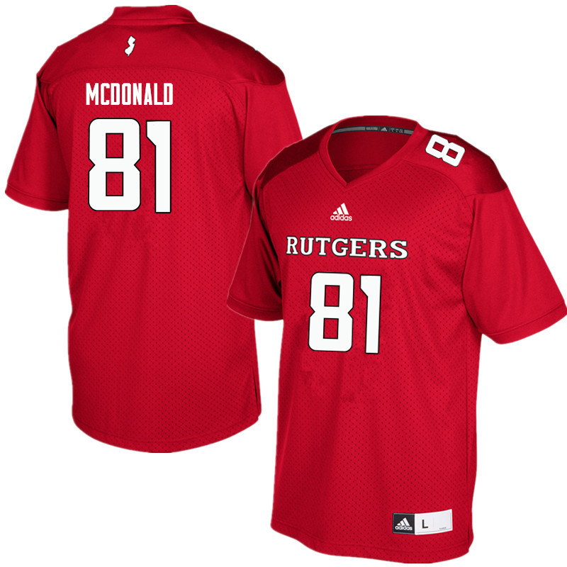 Men #81 Rich McDonald Rutgers Scarlet Knights College Football Jerseys Sale-Red