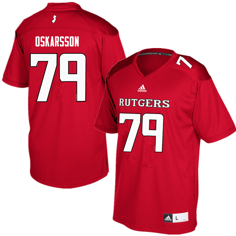 Men #79 Anton Oskarsson Rutgers Scarlet Knights College Football Jerseys Sale-Red