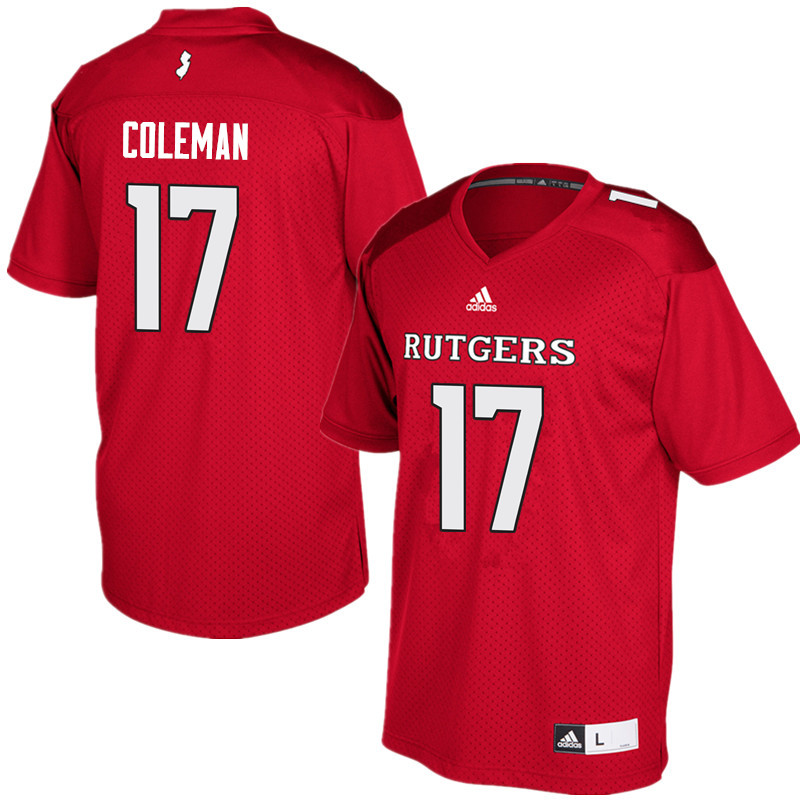 Men #17 Brandon Coleman Rutgers Scarlet Knights College Football Jerseys Sale-Red