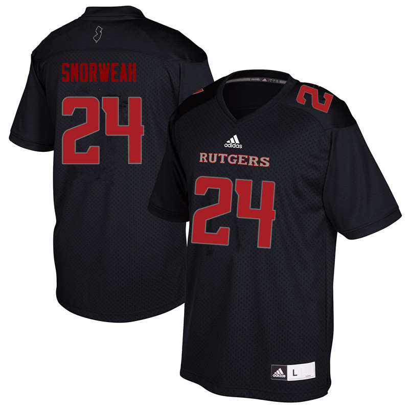 Men #24 Charles Snorweah Rutgers Scarlet Knights College Football Jerseys Sale-Black