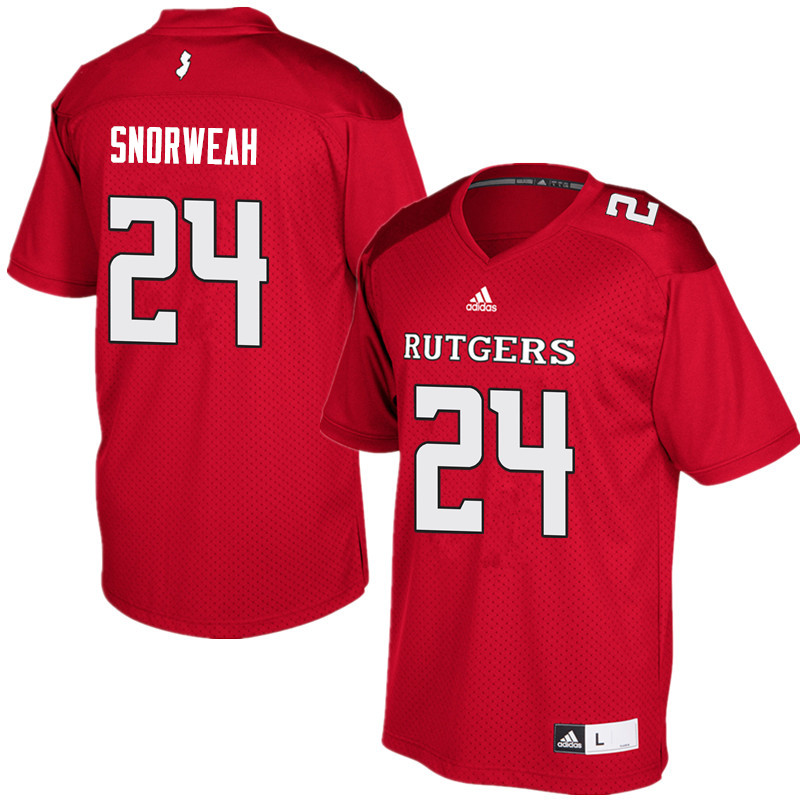 Men #24 Charles Snorweah Rutgers Scarlet Knights College Football Jerseys Sale-Red