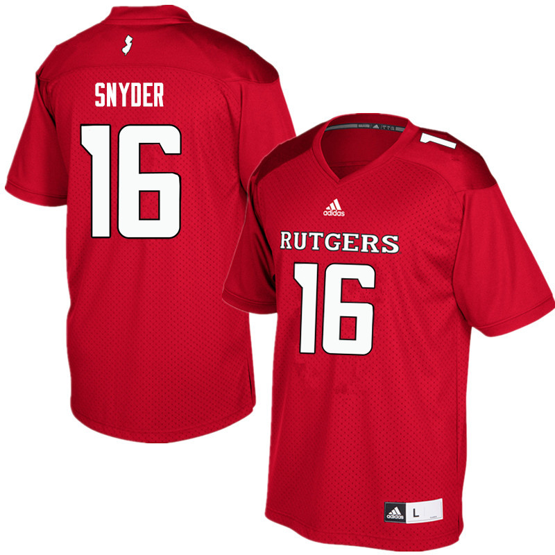 Men #16 Cole Snyder Rutgers Scarlet Knights College Football Jerseys Sale-Red