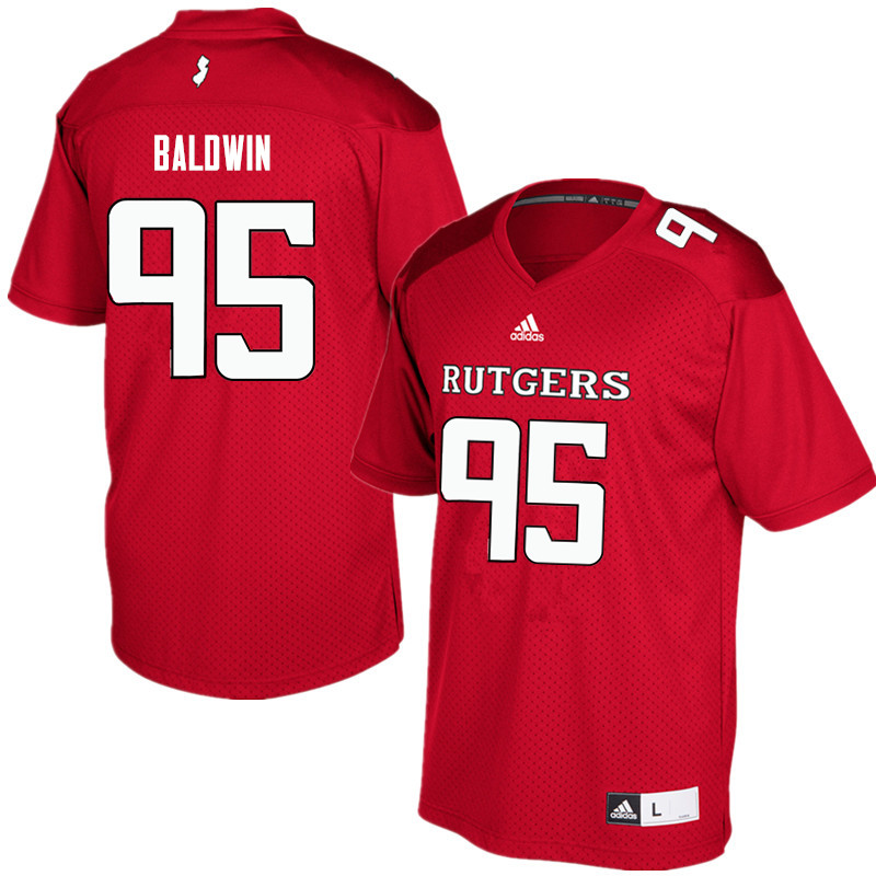 Men #95 Devin Baldwin Rutgers Scarlet Knights College Football Jerseys Sale-Red