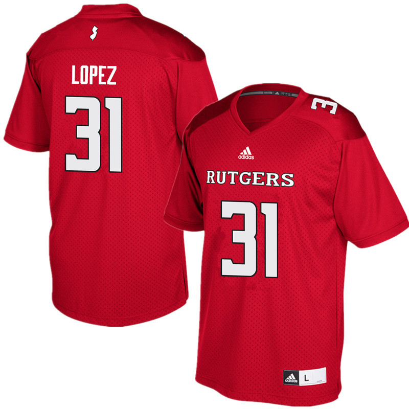 Men #31 Edwin Lopez Rutgers Scarlet Knights College Football Jerseys Sale-Red