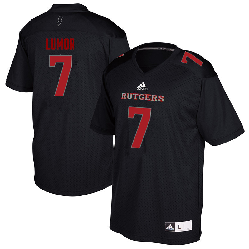 Men #7 Elorm Lumor Rutgers Scarlet Knights College Football Jerseys Sale-Black