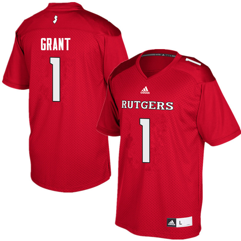 Men #1 Janarion Grant Rutgers Scarlet Knights College Football Jerseys Sale-Red