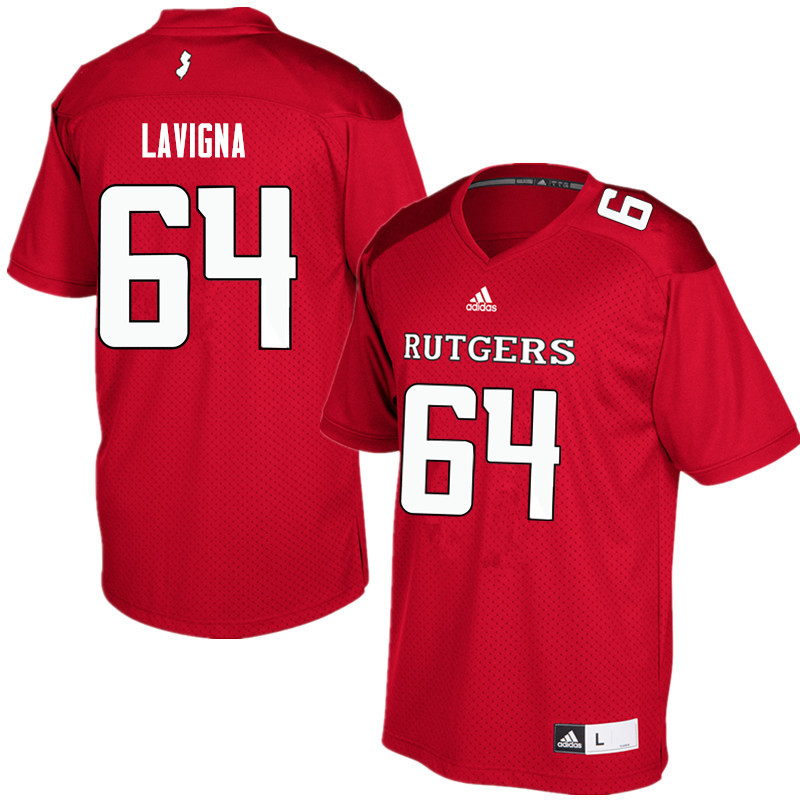 Men #64 Jason Lavigna Rutgers Scarlet Knights College Football Jerseys Sale-Red
