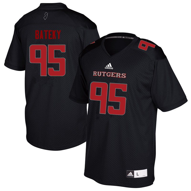 Men #95 Jon Bateky Rutgers Scarlet Knights College Football Jerseys Sale-Black