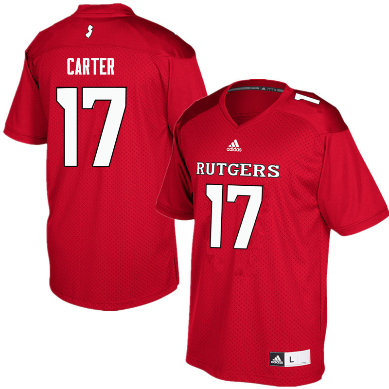 Men #17 McLane Carter Rutgers Scarlet Knights College Football Jerseys Sale-Red