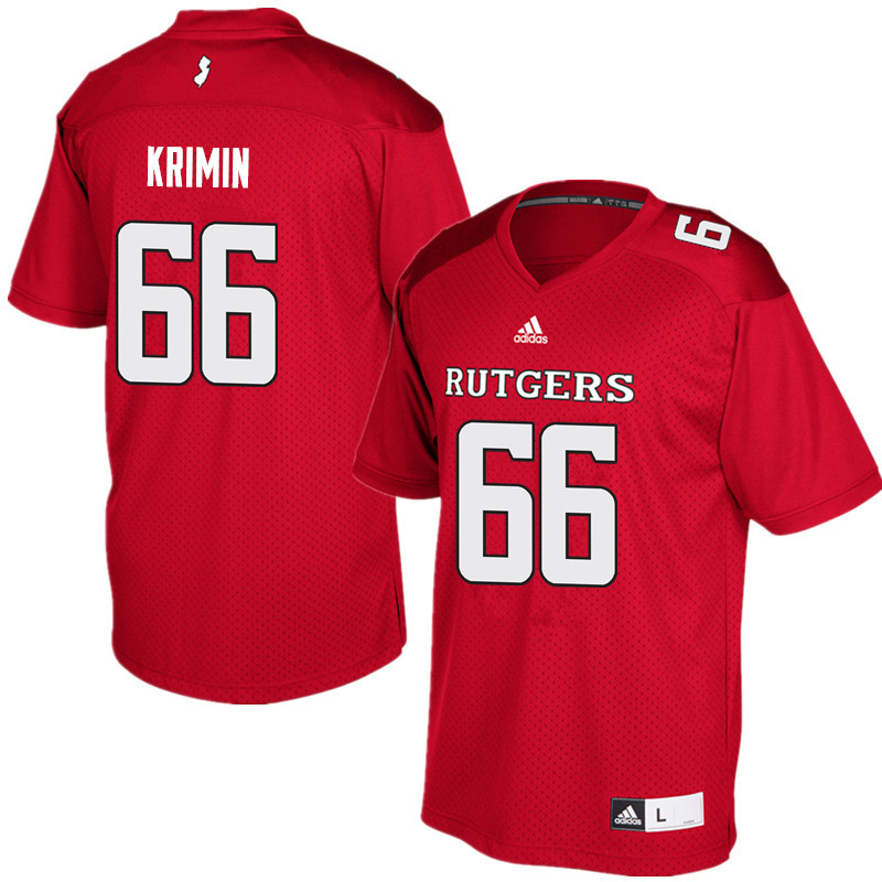 Men #66 Nick Krimin Rutgers Scarlet Knights College Football Jerseys Sale-Red