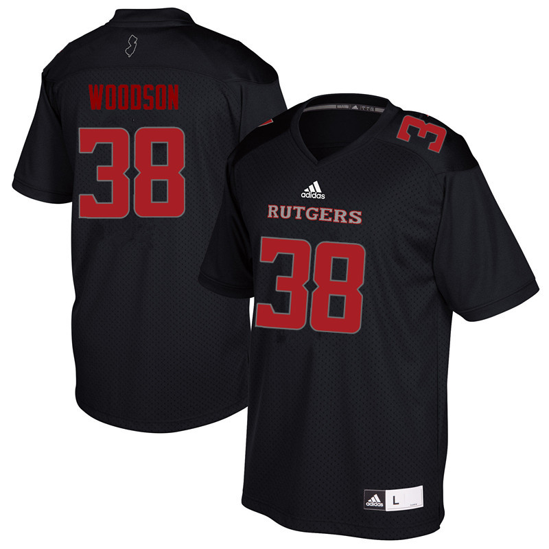 Men #38 Nyshere Woodson Rutgers Scarlet Knights College Football Jerseys Sale-Black