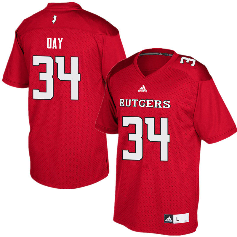 Men #34 Parker Day Rutgers Scarlet Knights College Football Jerseys Sale-Red