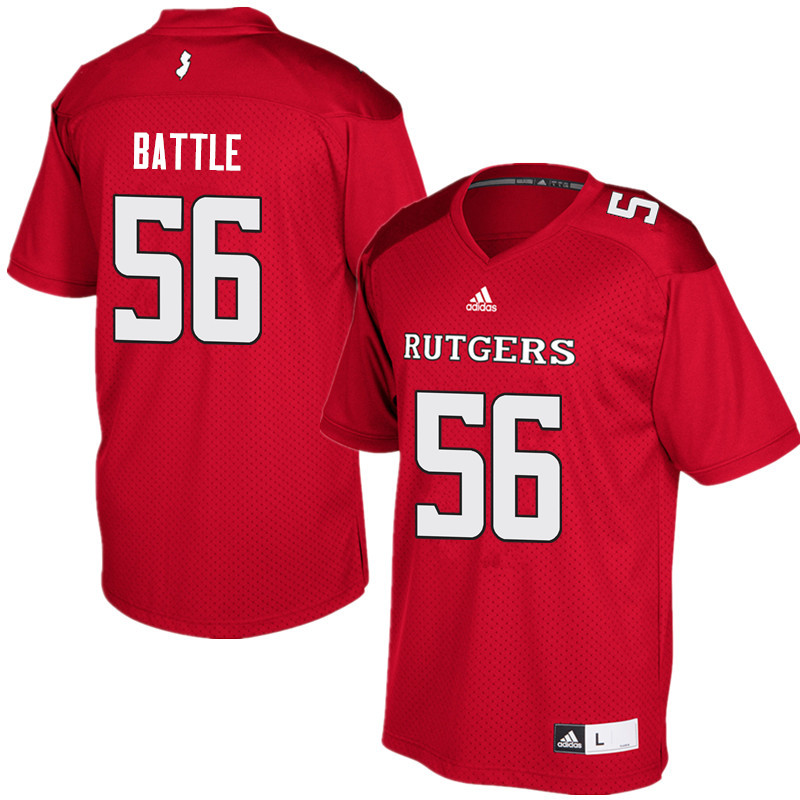 Men #56 Rashawn Battle Rutgers Scarlet Knights College Football Jerseys Sale-Red