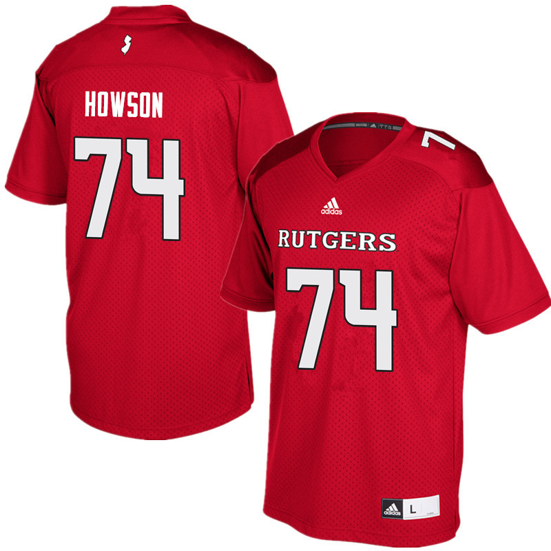 Men #74 Sam Howson Rutgers Scarlet Knights College Football Jerseys Sale-Red