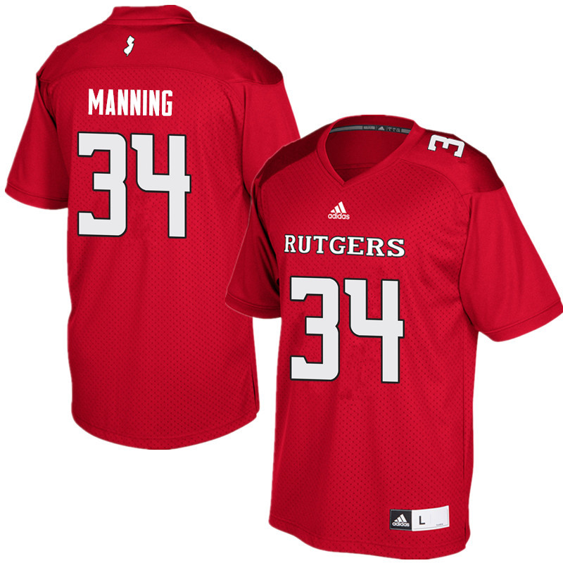 Men #34 Solomon Manning Rutgers Scarlet Knights College Football Jerseys Sale-Red