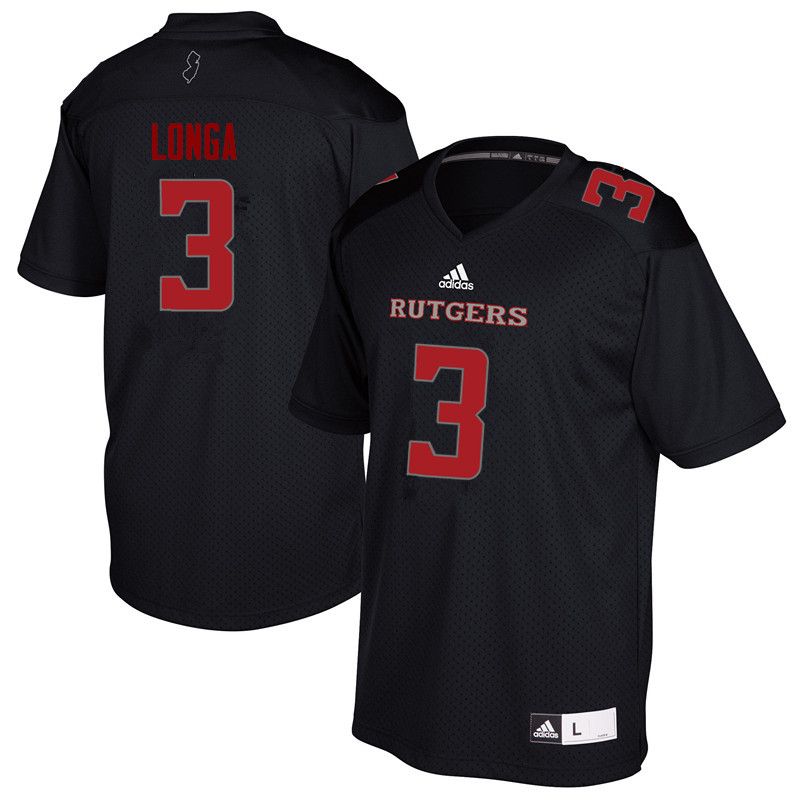 Men #3 Steve Longa Rutgers Scarlet Knights College Football Jerseys Sale-Black