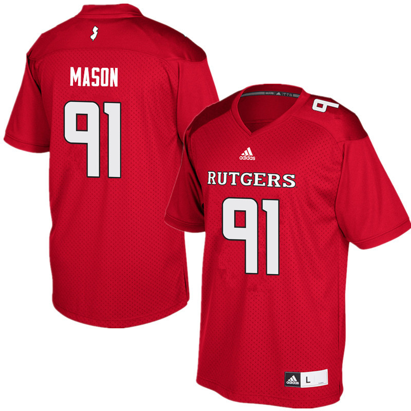 Men #91 Tijuan Mason Rutgers Scarlet Knights College Football Jerseys Sale-Red