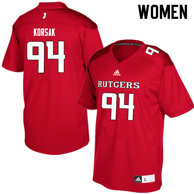 Women #94 Adam Korsak Rutgers Scarlet Knights College Football Jerseys Sale-Red