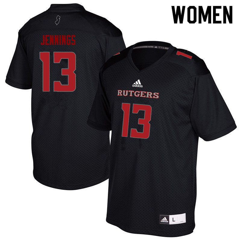 Women #13 Deion Jennings Rutgers Scarlet Knights College Football Jerseys Sale-Black