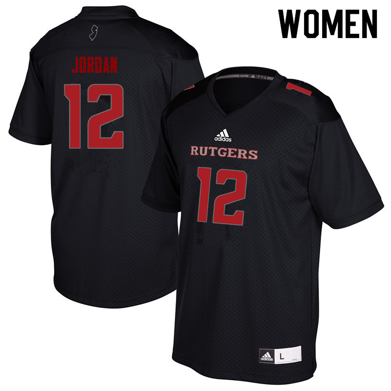 Women #12 Jalen Jordan Rutgers Scarlet Knights College Football Jerseys Sale-Black