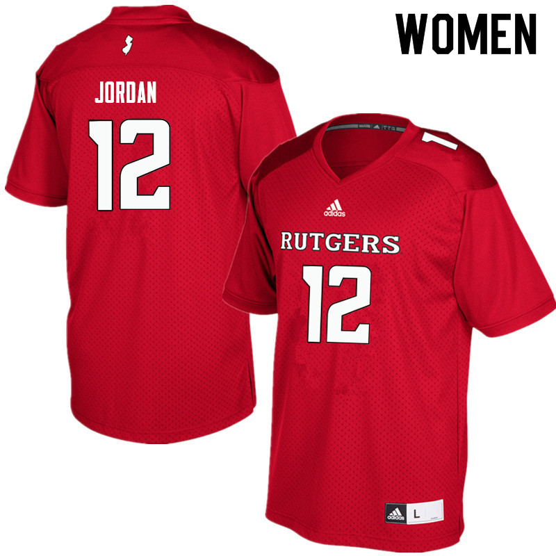 Women #12 Jalen Jordan Rutgers Scarlet Knights College Football Jerseys Sale-Red
