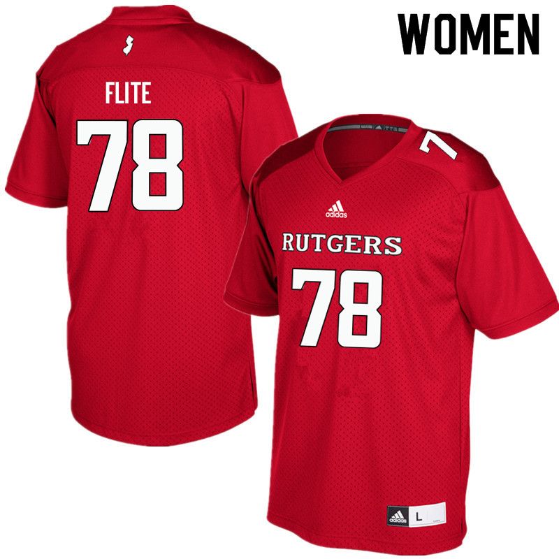 Women #78 Liam Flite Rutgers Scarlet Knights College Football Jerseys Sale-Red