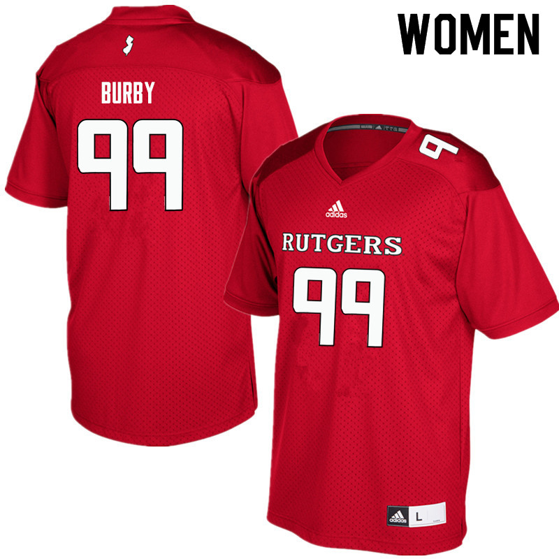 Women #99 Malachi Burby Rutgers Scarlet Knights College Football Jerseys Sale-Red