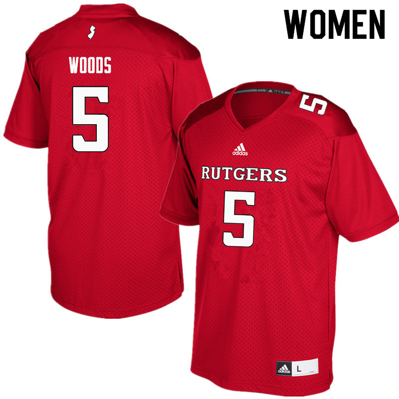 Women #5 Paul Woods Rutgers Scarlet Knights College Football Jerseys Sale-Red