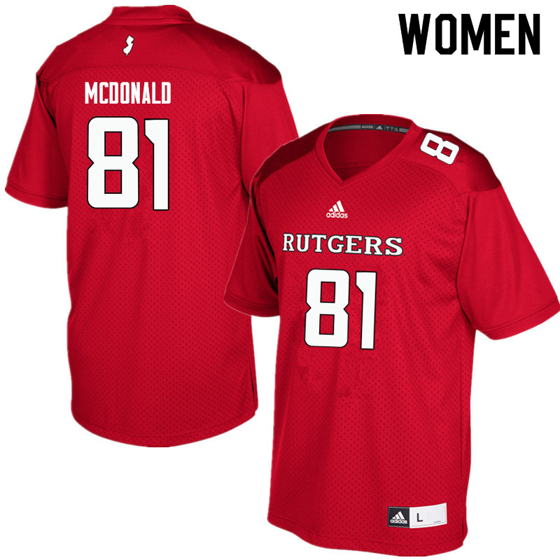 Women #81 Rich McDonald Rutgers Scarlet Knights College Football Jerseys Sale-Red