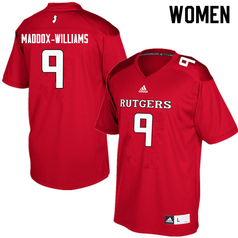 Women #9 Tyreek Maddox-Williams Rutgers Scarlet Knights College Football Jerseys Sale-Red