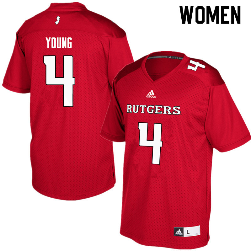 Women #4 Aaron Young Rutgers Scarlet Knights College Football Jerseys Sale-Red