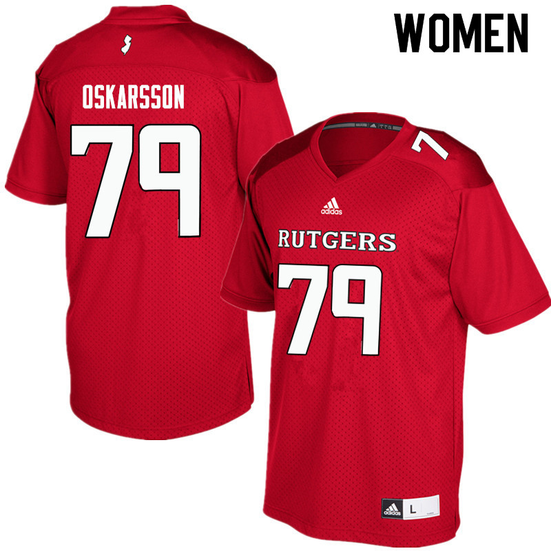 Women #79 Anton Oskarsson Rutgers Scarlet Knights College Football Jerseys Sale-Red
