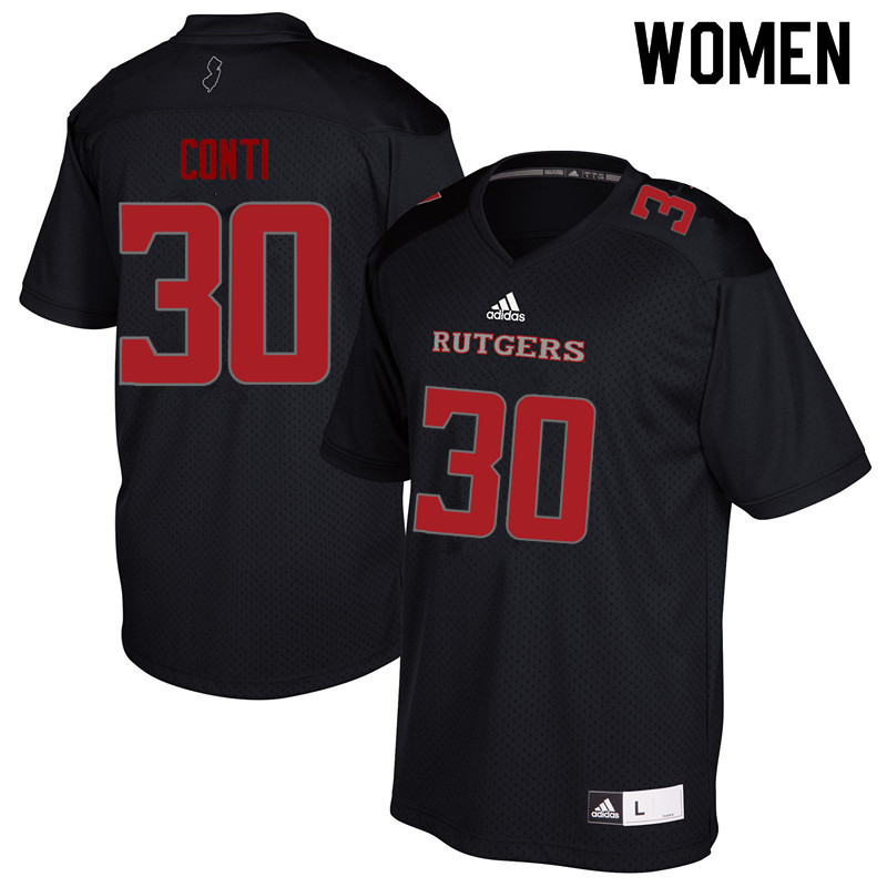 Women #30 Chris Conti Rutgers Scarlet Knights College Football Jerseys Sale-Black