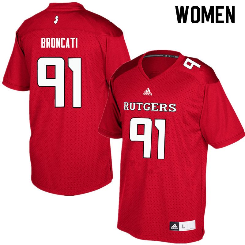 Women #91 David Broncati Rutgers Scarlet Knights College Football Jerseys Sale-Red