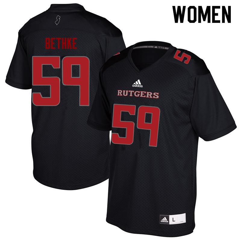Women #59 Drew Bethke Rutgers Scarlet Knights College Football Jerseys Sale-Black