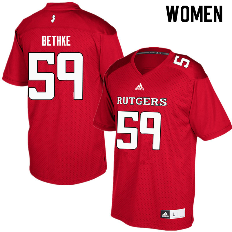 Women #59 Drew Bethke Rutgers Scarlet Knights College Football Jerseys Sale-Red