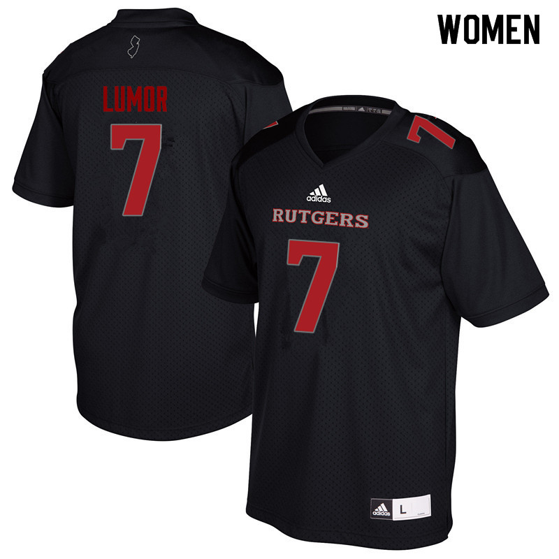 Women #7 Elorm Lumor Rutgers Scarlet Knights College Football Jerseys Sale-Black