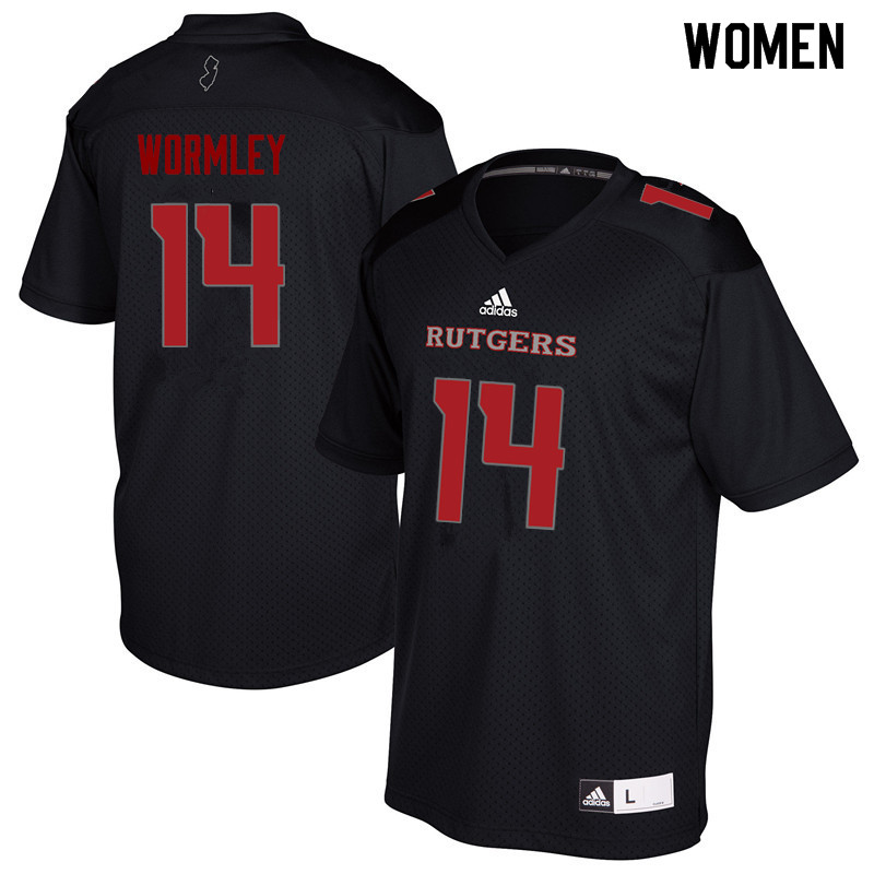 Women #14 Everett Wormley Rutgers Scarlet Knights College Football Jerseys Sale-Black