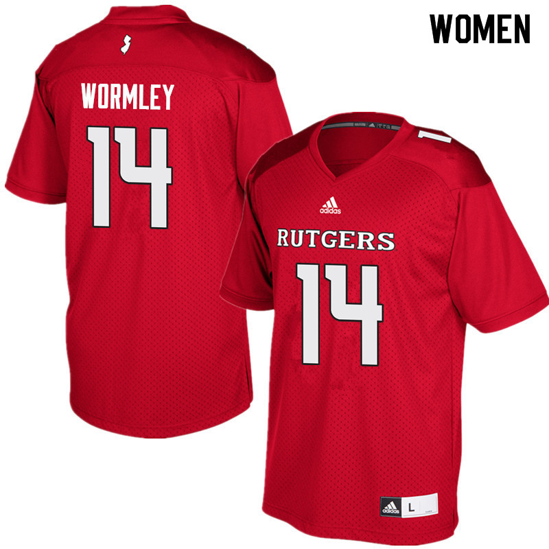 Women #14 Everett Wormley Rutgers Scarlet Knights College Football Jerseys Sale-Red