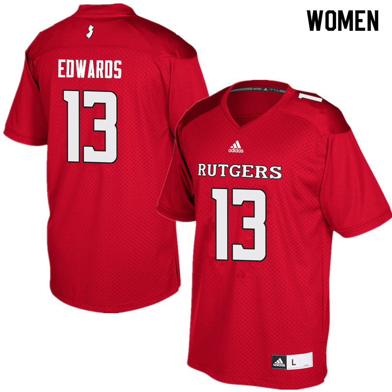Women #13 Gus Edwards Rutgers Scarlet Knights College Football Jerseys Sale-Red