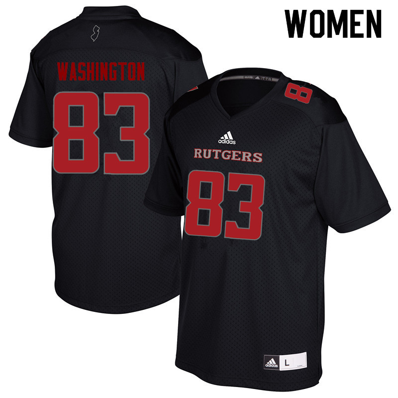 Women #83 Isaiah Washington Rutgers Scarlet Knights College Football Jerseys Sale-Black