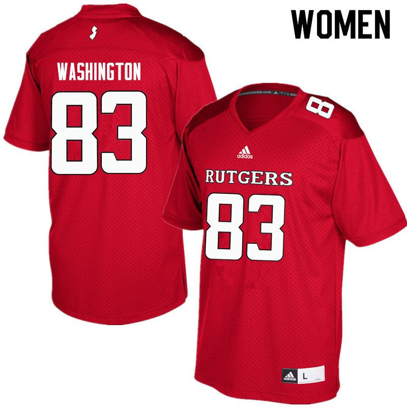 Women #83 Isaiah Washington Rutgers Scarlet Knights College Football Jerseys Sale-Red