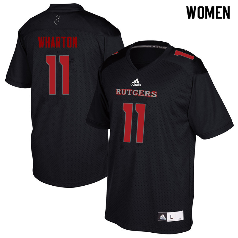 Women #11 Isaiah Wharton Rutgers Scarlet Knights College Football Jerseys Sale-Black