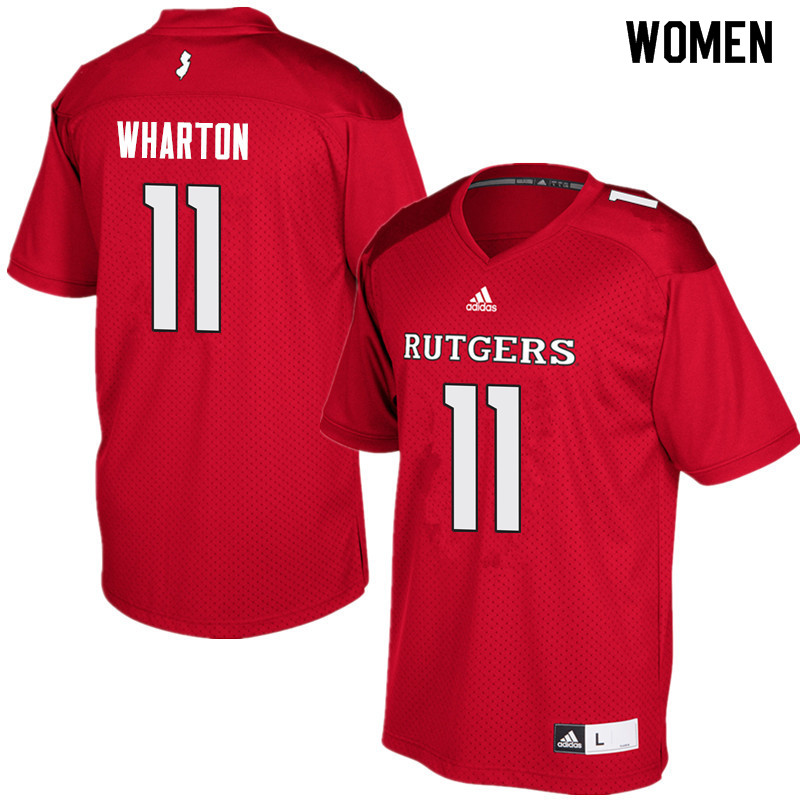 Women #11 Isaiah Wharton Rutgers Scarlet Knights College Football Jerseys Sale-Red