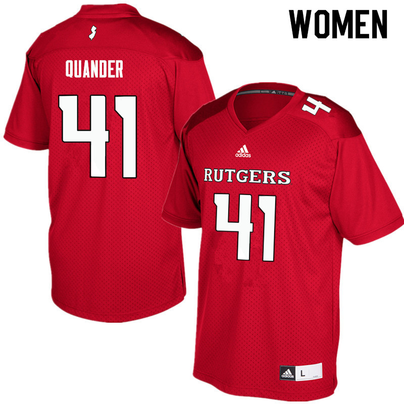 Women #41 Jack Quander Rutgers Scarlet Knights College Football Jerseys Sale-Red