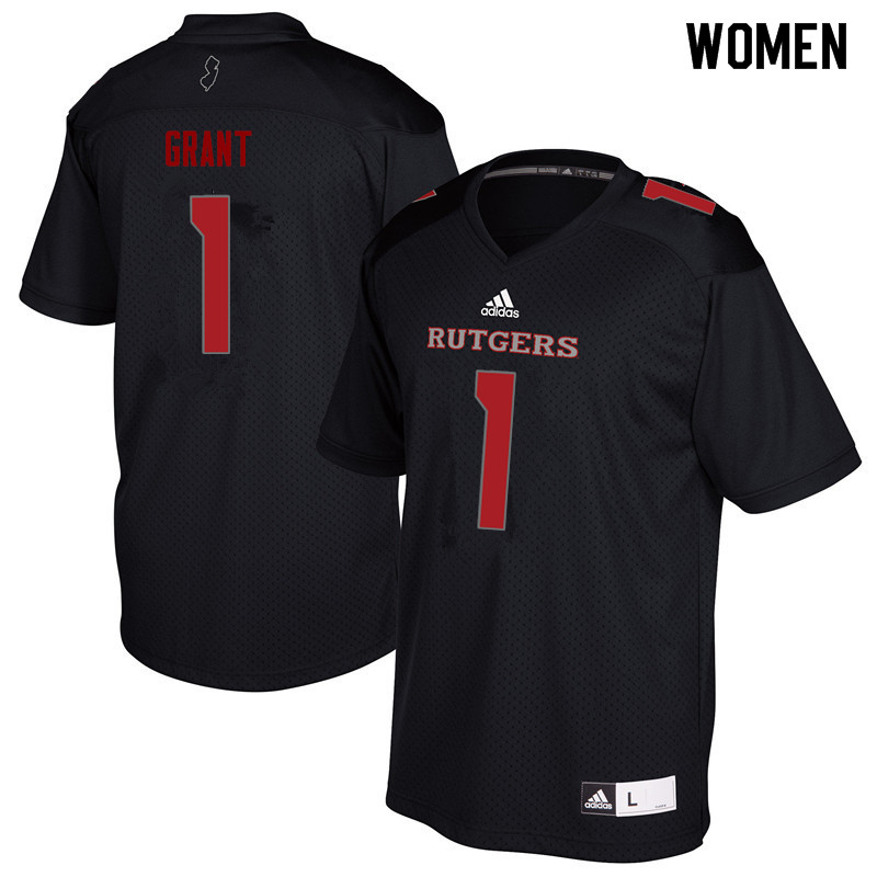 Women #1 Janarion Grant Rutgers Scarlet Knights College Football Jerseys Sale-Black